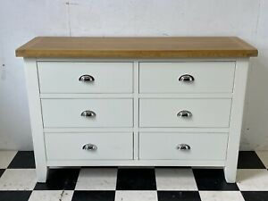 Modern Chiltern Oak Chester white painted chest of drawers - RRP £349 - Delivery