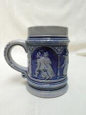 Vintage Beer Stein/Mug Cobalt Blue & Gray Salt Glaze German