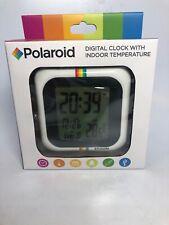 Polaroid Digital Clock with 12/24 Hour & Indoor Temperature white w/ rainbow