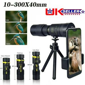 UK 4K 10-300X40mm Super Telephoto Lens Zoom Monocular Telescope Night Waterproof