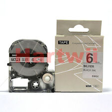 EPSON6mm LC-2SBE Compatible Label Tape  Black on Silvery 6mm 8m LC-2SBM 1/4 x26