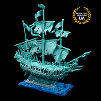 ⭐️WHFB Dreadfleet Undead Ghost Caribbean Pirate Ship Expertly Painted Miniature