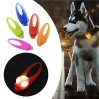 Pet Dog Puppy LED Flashing Collar Tag Clip Buckle Safety Night Light Pendant UK