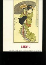 ancien menu gastronomique - compagnie des messageries maritimes 1965