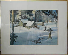 David Snyder 79 Mountain Cabin Scene 32.25 X 40.25 Original Watercolor Painting