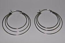 New 925 Sterling Silver 40 mm. Airy Triple Rings Hoop Earrings