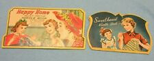 vintage Sweetheart & Happy Home sewing needles booklets lot of 2 lot P