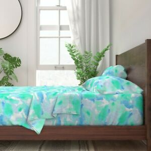 Water Sky Clouds Beach Hand Painted 100% Cotton Sateen Sheet Set by Roostery