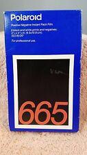 """POLAROID 665 Instant Pos & Neg Film 3-1/4  4-1/4"""" 8 Black & White Sheets SEALED"""