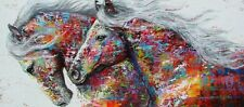 "Modern Colorful Horses PICTURE CANVAS WALL ART 16""X30"""