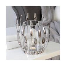 Windlicht, Teelichthalter TREVI antik silber H. 18cm D. 17cm Metall Casablanca