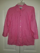 Napa Valley 3/4 Sleeve Pink Shirt Embroidery Womens L Large Excellent