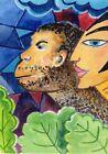 ACEO Original Art Card Ape Women Men Humen Faces Animal Gift For Xmas Friends