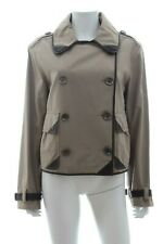 Burberry Brit Leather-Trimmed Trench-Style Cotton Jacket / Stone
