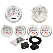Vintage 6 Gauge Performance White Face Red Pointers Electrical KMH GPS Set