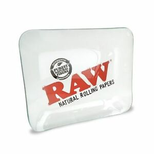 RAW ROLLING PAPERS GLASS ROLLING TRAY - LIMITED EDITION RAW GLASS ROLLING TRAY