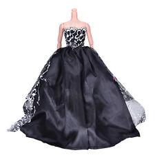 1x Black Wedding Dress Princess Kids Toys For Barbi with White Flower Decor QY