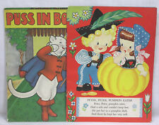 Vintage LOT Two Picture Books Puss in Boots & Nursery Rhymes Fab Images