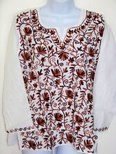 EMBROIDERED ALL OVER WHITE COTTON TUNIC TOP KURTI FROM INDIA