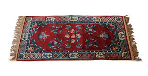 "Chinese Wool Rug, c1920. Blue and Red Field Floral Designs 73.5"" x 36.5"""