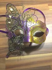 Masquerade Mask Venetian Filigree Purple / Gold Metal Diamonte Ball Prom Party