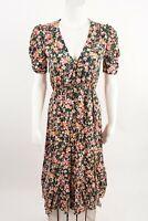 Zara Womens Midi Dress XS Floral MultiColor Plunging V-Neck Slit 9006/157 NWT