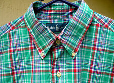 RALPH LAUREN GREEN RED SZ L MEN BUTTON DOWN PLAID 100% COTTON LS VERSTILE SHIRT