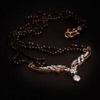 Pave 1,02 Cts Runde Brilliant Cut Diamanten Mangalsutra Halskette In 14K Gold