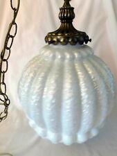 Vintage Opalescent Ceiling Light Fixture Hollywood Regency Swag Lamp