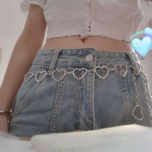 Metal Hollow Ladies Fashion Women Pants Chain Waistband Waist Chain Heart Belts