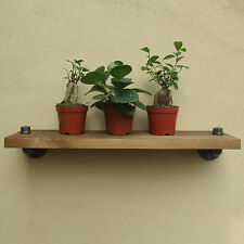 URBAN INDUSTRIAL RUSTIC WALL MOUNT IRON PIPE WOOD SHELF STORAGE SHELVING