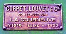 PHOTO  CORPET-LOUVET BUILDER'S PLATE ON THE PAUL FROT 0-8-0T NO.24
