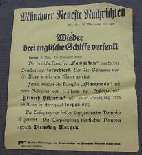 1. WK Plakat Tagesaufruf Aufmacher Münchner Zeitung 3 englische Schiffe versenkt