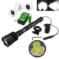 Tactical 50000Lm 3x T6 LED Torch Flashlight Hunting Torch Rifle Gun Mount Light