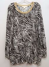 MICHAEL KORS Size 1X Espresso Brown White Gold Zebra Pullover Thin Sweater Top