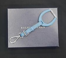 NEW RALPH LAUREN Blue Leather Stirrup FOB Key Chain Key Ring