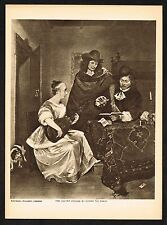 1910's Old Vintage Guitar Lesson by Gerard Ter Borch Photogravure Art Print