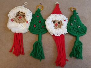 Vintage Large Crochet Father/Mrs Christmas & Christmas Tree Hanging Decorations
