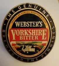 Vintage Pump Clip Badge Webster's Yorkshire Bitter Breweriana Decor - Free Ship!