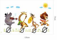 Safari Animals Lion Clouds Wall Sticker Children Room Nursery Decal Mural Art