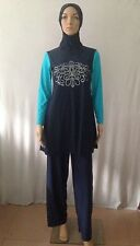 Full Cover Islamic Muslim Beachwear Blue 2-Piece Swimsuit Size XL