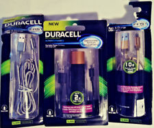 DURACELL 2 PCK 10FT SYNC & CHARGE FABRIC CORD USB CABLE & PORTABLE POWER BATTERY