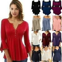 Womens Lace Up Blouse Shirts Ruffle Ladies Long Sleeve Tunic Peplum Tops T-Shirt