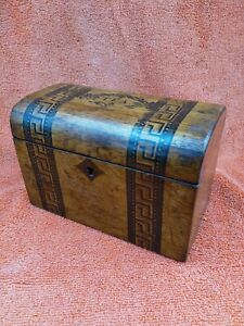 Antique 19th Century Victorian Wooden Tea Caddy Chest Hand Painted.