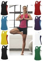 Womans Ladies Plain Breathable Polyester Sports Tank Top Vest Singlet