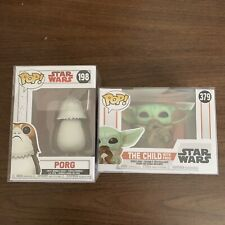 Funko Pop Star Wars Lot W/ The Child With Frog 379 And Porg 198
