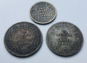 1875 & 1896 British India 1/4 rupee coins & 1895 2 annas