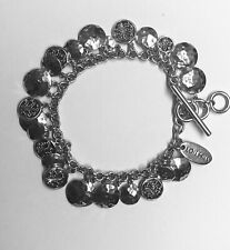 Lois Hill Sterling Silver 925, Disc Granulated, Hammered  Charms Toggle Bracelet