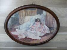 Antiker ovaler Bilderrahmen Echtholz Rahmen mit Bild und Glas um 1900