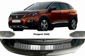 PEUGEOT 3008 II Chrome Rear Bumper Protector Scratch Guard S.STEEL 16-20